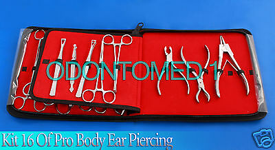 Kit 16 Pro Body Ear Tongue Navel Piercing Forceps Pliers Clamps Tools