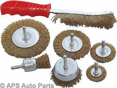 7 PC Rotary Wire Brush Set Metal Cleaning Sanding Drill Rust Remover Cleansing