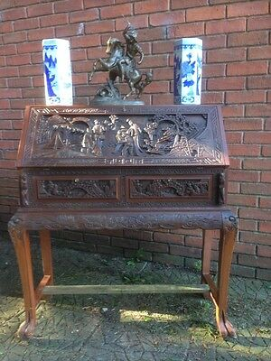 Antique Style 1930's Oriental Carved Library Reception Home Hotel Office Desk