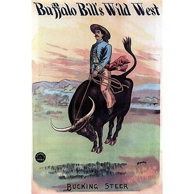 Buffalo Bill Cody's Wild West Show Poster Reproduction HUGE! 36x54