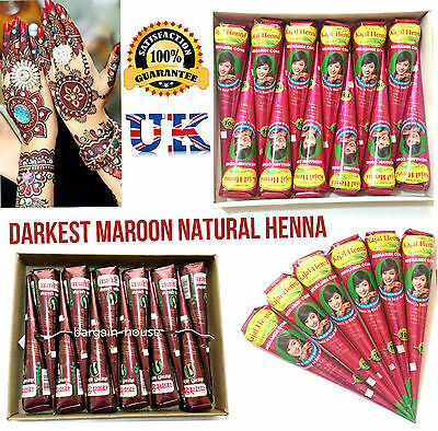 Darkest Natural Henna body Art Temporary Cones  Premium Quality 1st Class Post
