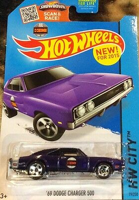 2015 HOT WHEELS HW CITY '69 DODGE CHARGER 500  purple 19/250