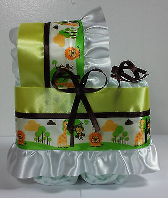 Diaper Cake Beautiful Bassinet Carriage Baby Shower Neutral - Yellow Jungle