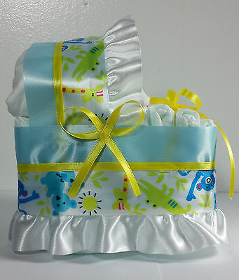Diaper Cake Beautiful Bassinet Carriage Baby Shower Gift - Blue/Yellow Jungle