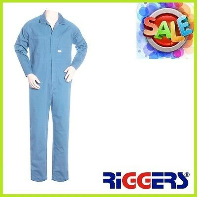 3 x RIGGERS Lightweight Cotton Long Sleeve Overalls Coveralls Sky Blue Wholesale