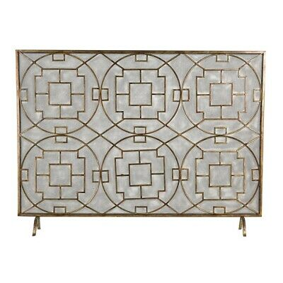 Sterling Industries Geometric Fire screen, Silver Paint With Dark Brown Antique