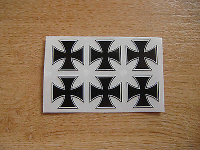 set of 6 - Maltese Cross / Iron Cross stickers/decals - 25mm black + white