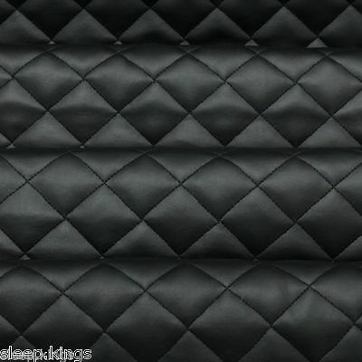 Quilted Diamond Stitch Embossed Padded Luxury Car Upholstery Faux Leather 1 mtr