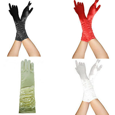 Ladies Satin Long Rouched Top Bridal Gangster Wedding Prom Evening Party Gloves