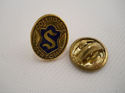 """Sertoma Collegiate Lapel Vintage Tack Pin with Back Oval Goldtone with Blue 1/2"""""""