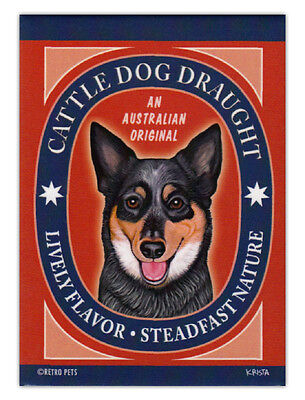 Retro Dogs Refrigerator Magnets - Australian Cattle Dog Draught - Art