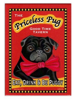 Retro Dogs Refrigerator Magnets - Priceless Pug Tavern - Vintage Advertising Art