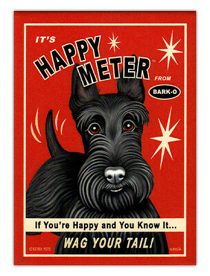 Retro Dogs Refrigerator Magnets - Scottish Terrier Happy Meter - Advertising Art