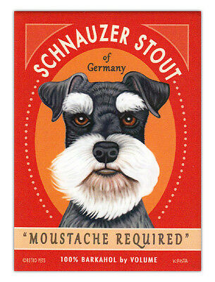 Retro Dogs Refrigerator Magnets - Schnauzer Stout - Vintage Advertising Art