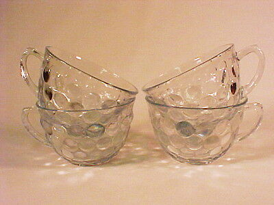 4 Sapphire Blue Bubble Cups / Hocking Glass Co
