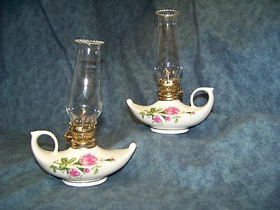 2 Vintage Moss Rose Porcelain Aladdin Style Oil Lamps with Saw Tooth Chimneys