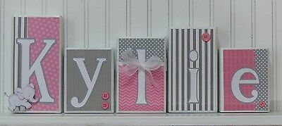Baby Name Block Letters, Routed Edge, Baby Nursery Decor,Pink and Gray, Elephant