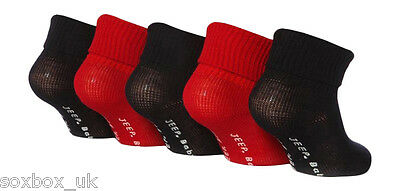 5 Pairs Boys Baby Jeep Turn Over Top socks JBB006 Red Black size 3-5, 19-22 Eur