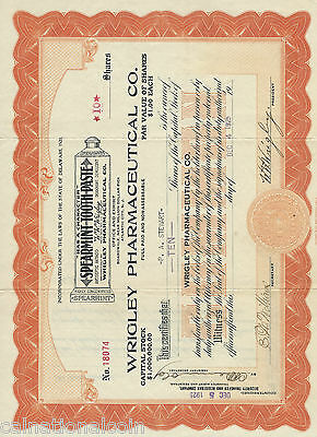 1925 Wrigley Pharmaceutical Co 10 shares New Jersey and original envelope