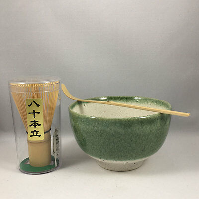 Japanese Matcha Bowl Cup Oribe Spoon Whisk Tea Ceremony Gift Set Made in Japan