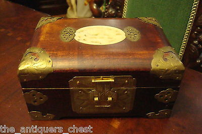 Vintage ChineseWOODEN Jewelry Box with celadon Jade carved Plaques[2]