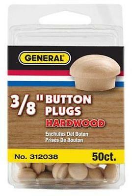General Tools 312038 Button Head Wood Plugs-Birch, 50 Pcs, 3/8""