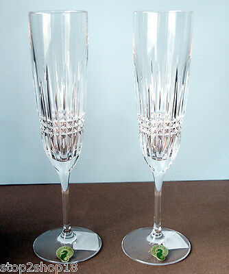 Waterford Crystal LISMORE Diamond Champagne Toasting Flute(s) Pair #160020 New