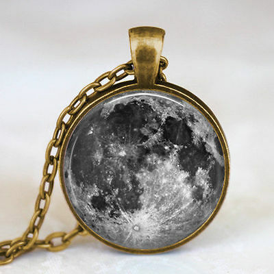 Full Moon necklace Full Moon Jewelry Lunar space antique bronze necklace