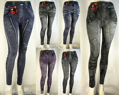 Leggings Pantacollant Leggins Donna Effetto Jeans Jeggings C238 Tg M/L XL/XXL