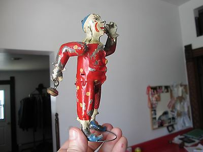 Antique GUNTHERMANN ? TINPLATE WIND-UP TOY  CLOWN w/TWIRLING ARMS &BELLS -   NR