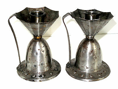 Vintage Anitque Pair Arts & Crafts Hammered Steel Candle Sticks Holders GERMANY