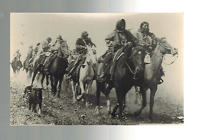 Mint Postcard Native American Indians on Horseback with dogs RPPC