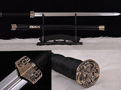 """High Quality Hand Forge Chinese Sword """"Han Jian"""" (劍) Carbon Steel Alloy Fitting"""