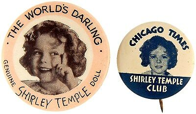 SHIRLEY TEMPLE 1930s BUTTONS FAMOUS IDEAL DOLL CHICAGO NEWSPAPER CLUB BUTTON