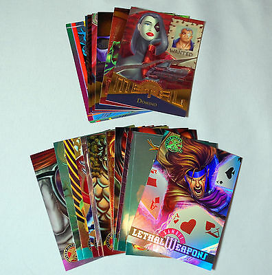 Marvel Fleer All Chromium and Metal Cards from the 90's  Lethal Weapon Gambit!
