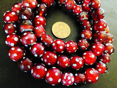 Venetian Cranberry Red Skunk Spotted Trade Beads Collector Strand