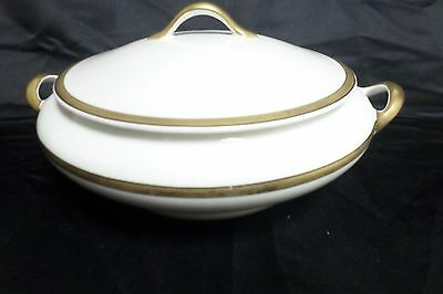 """Vtg Edwin Knowles Warranted 18K Gold """"Vitaeous""""  Covered Dish w/Handles ~ 1924"""