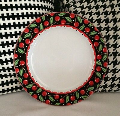 Mary Engelbreit Cherries Sakura Cherry Decoration Black White Red 1 Dinner Plate