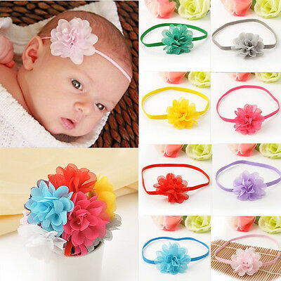10Pcs Kids Baby Infant Toddler Flower Headband Chiffon Hair Band Accessories