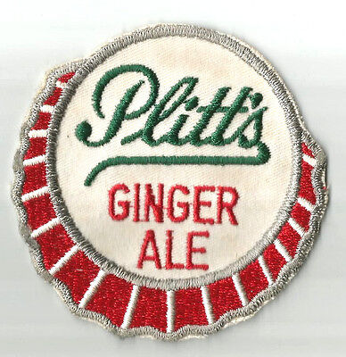 Plitt's Ginger Ale Patch Shaped Like A Bottle Cap