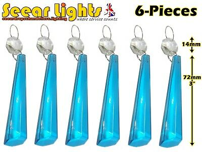 5 Chandelier Glass Icicles Drops Crystals Light Teal Blue Prisms Droplets Parts