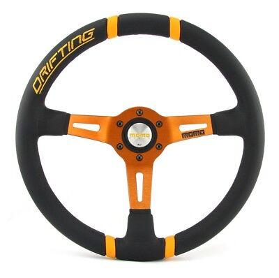 Momo Leder Sportlenkrad Drifting 350mm schwarz orange steering wheel volante