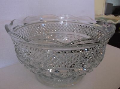 VTG WEXFORD GLASS CLEAR SCALLOPED EDGE LARGE FOOTED BOWL HEAVY