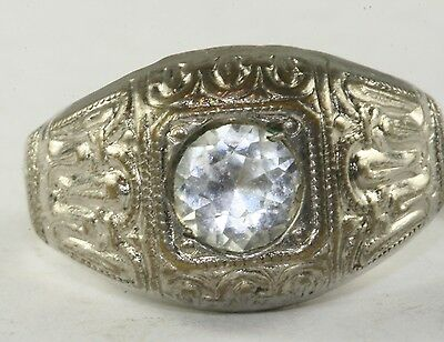 Vtg Antique 1920'S Art Deco Mens Chrome French Paste Ring Size 9.25
