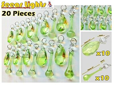 Green Leaf Chandelier Glass Crystals Drops Vintage Chic Prisms Beads Droplets