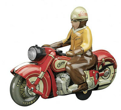 Key Wind Clockwork Tin Schuco Charly 1005 Vintage Motorcycle Retro Toy w/ Rider