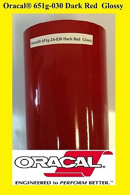 "24"" x 10 FT Roll Dark Red  Glossy Oracal 651  Vinyl Adhesive Plotter Sign 030"
