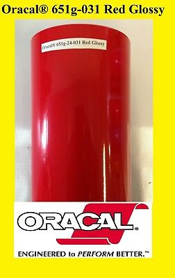 "24"" x 10 FT Roll  Red  Glossy Oracal 651  Vinyl Adhesive Plotter Sign cutter 031"