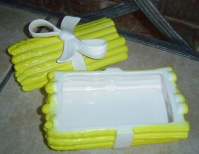 FITZ & FLOYD YELLOW ASPARGUS WITH WHITE RIBBON COVERED DISH OR TRINKET  BOX