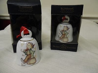 "Set of 2 MJ Hummel ""Merry Wanderer"" Signed Christmas Bell Series NIB ~ Germany"